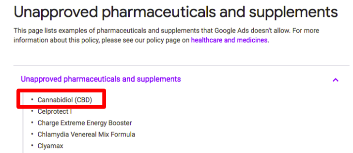 Google AdWords CBD Advertising Policy